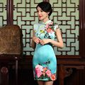 Clássico Das Senhoras de Cetim Mini Cheongsam Venda Quente Estilo Chinês Tradicional Vestido Roupas Vestido Qipao Tamanho S M L XL XXL 1275766