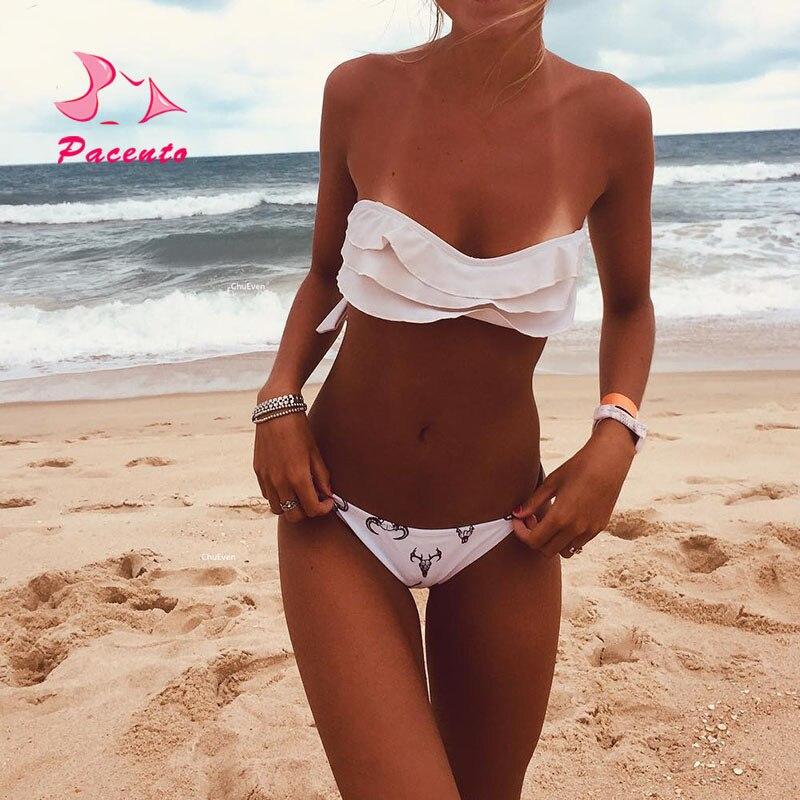 Pacento White Sexy Bikini Set Cute Bandeau Swimsuit Animal Style Flounce Swimwear Women 2018 Print Halter Bather Plavky цена 2017
