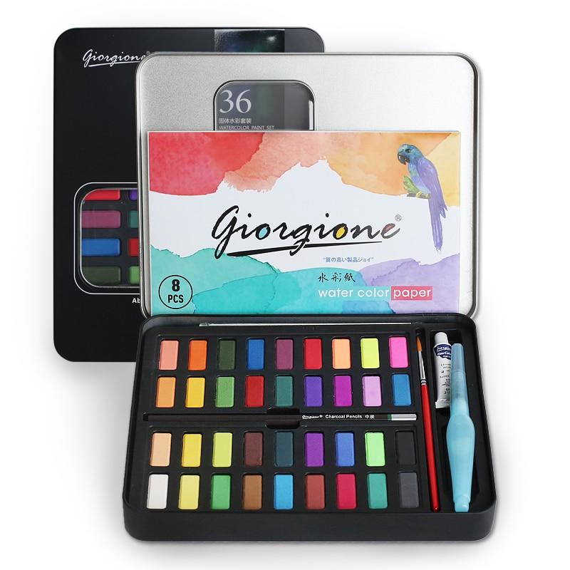 36 colori Solidi Waterolor Vernici Set Esterno Portatile Pittura Ad Acquerello con Pennello Pigmento Set Regali per I Rifornimenti di Arte
