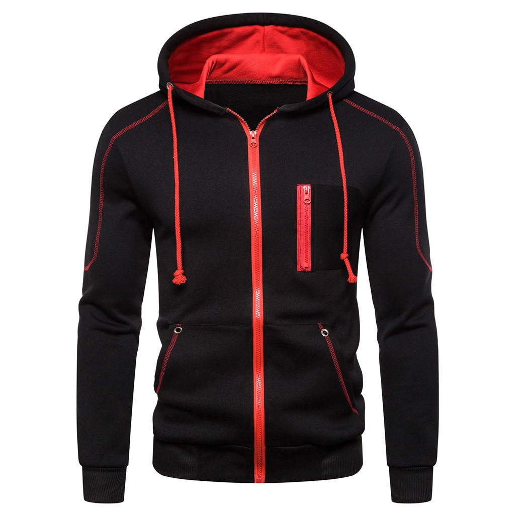 JAYCOSIN Men Jackets Coats Outwear Hooded-Zipper Overcaot Print-Baseball Autum Long-Sleeve