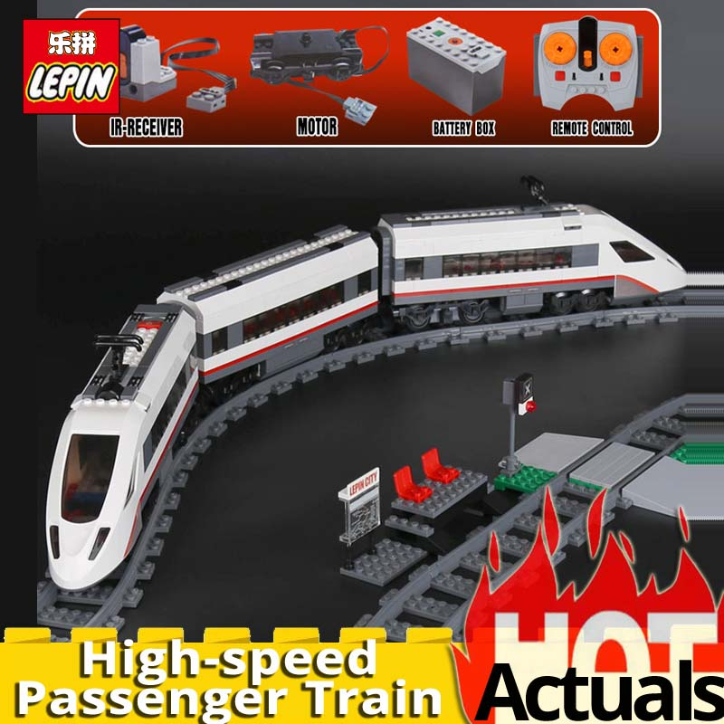 LEPIN city 02010 The High speed Passenger Train Set Educational Stacking Blocks Bricks boys gift compatible legoingly City 60051 lepin 02010 610pcs city series building blocks rc high speed passenger train education bricks toys for children christmas gifts