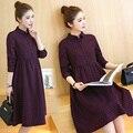 Новая осень плед беременных платья с длинным рукавом отложным воротником высокая талия платье для беременных женщин беременность причинно одежда