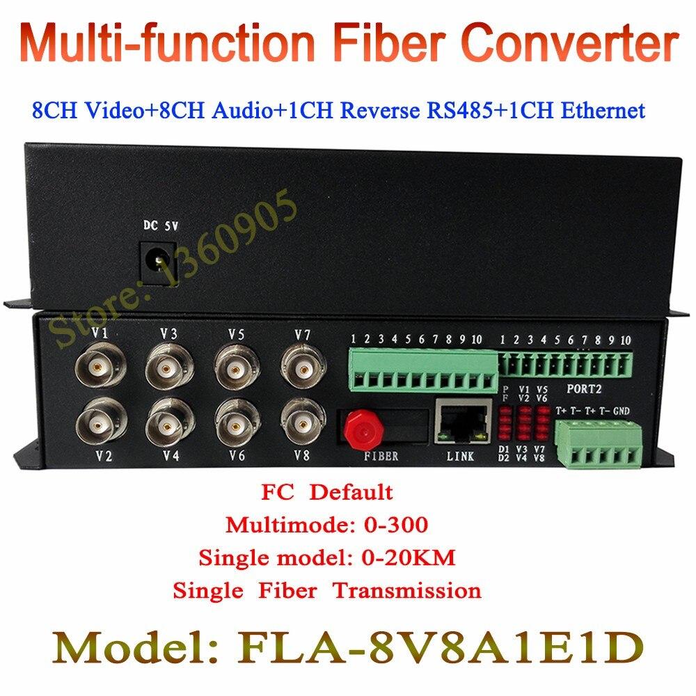 8ch vidéo + 8ch audio + 1ch RJ45 Ethernet + 1ch RS485 transmetteur et récepteur convertisseur de média fibre optique 8 canaux FC 20 KM