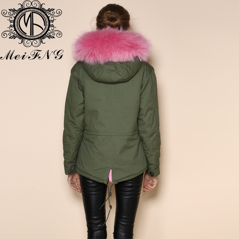 Iron snap button short fur parka pink lining hooded coat womens ...