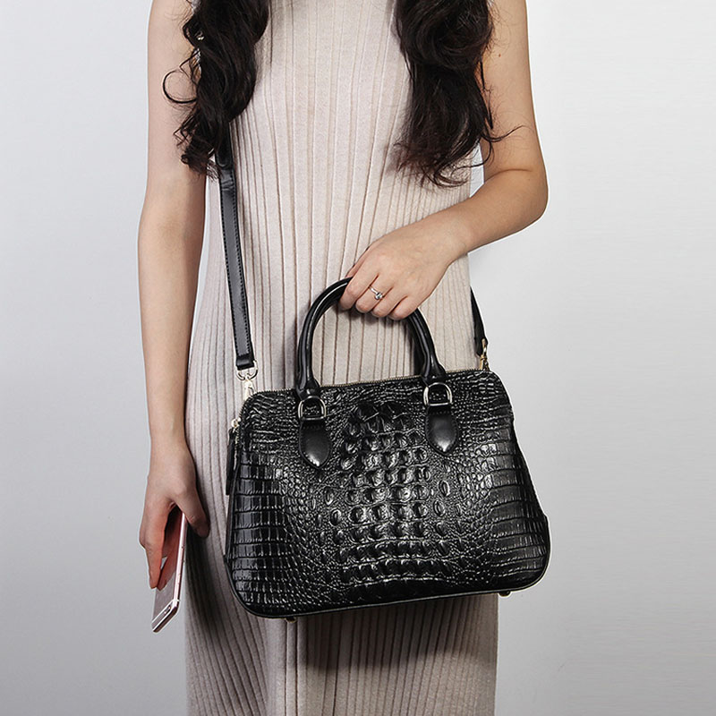 ZENCY cuero genuino de lujo famosa marca de moda de alta calidad de cocodrilo de mujer bolso de mano de las señoras bolso de compras bolso de la bolsa-in Cubos from Maletas y bolsas    3