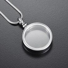 IJD9887 модный прозрачный Круглый урна ожерелье для кремации ожерелье-сувенир Собака Кошка/человеческого пепла держатель памятные похоронные ювелирные изделия