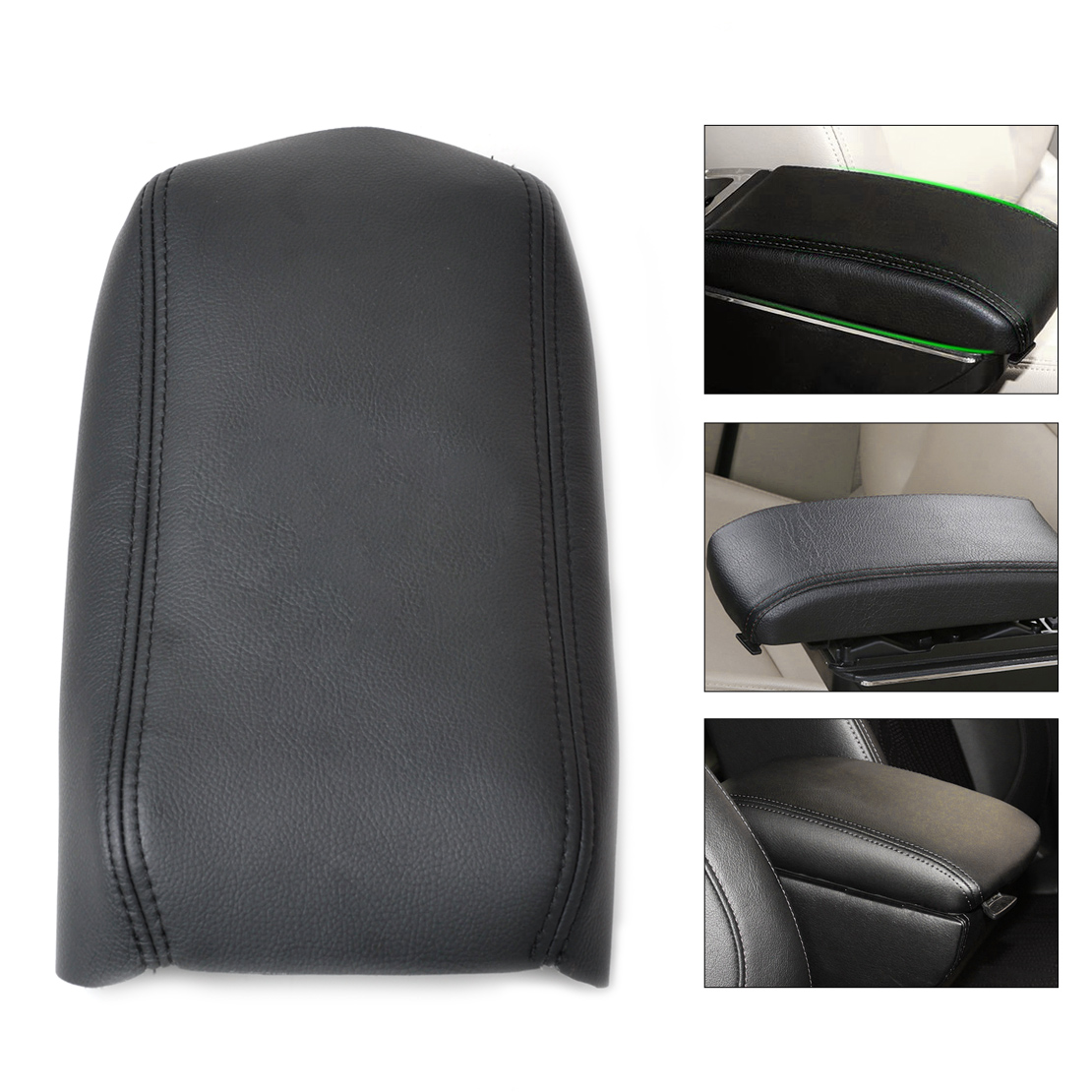 CITALL 1Pc New Leather Auto DIY Black Front Console Lid