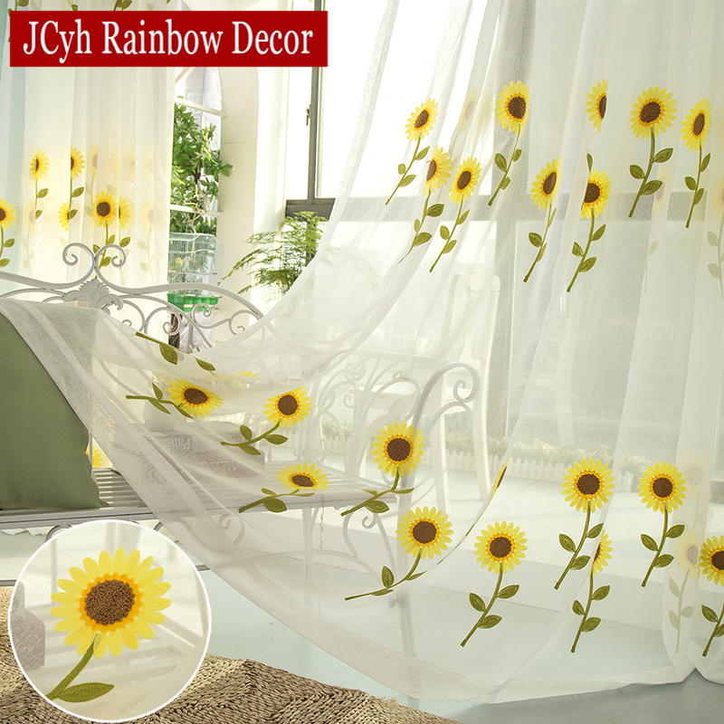 Pastoral Sunflower Sheer Tirle Tirle For Living Room Bedroom Modern Kitchen Tilted Window And Tirle Voile Curtains Kids