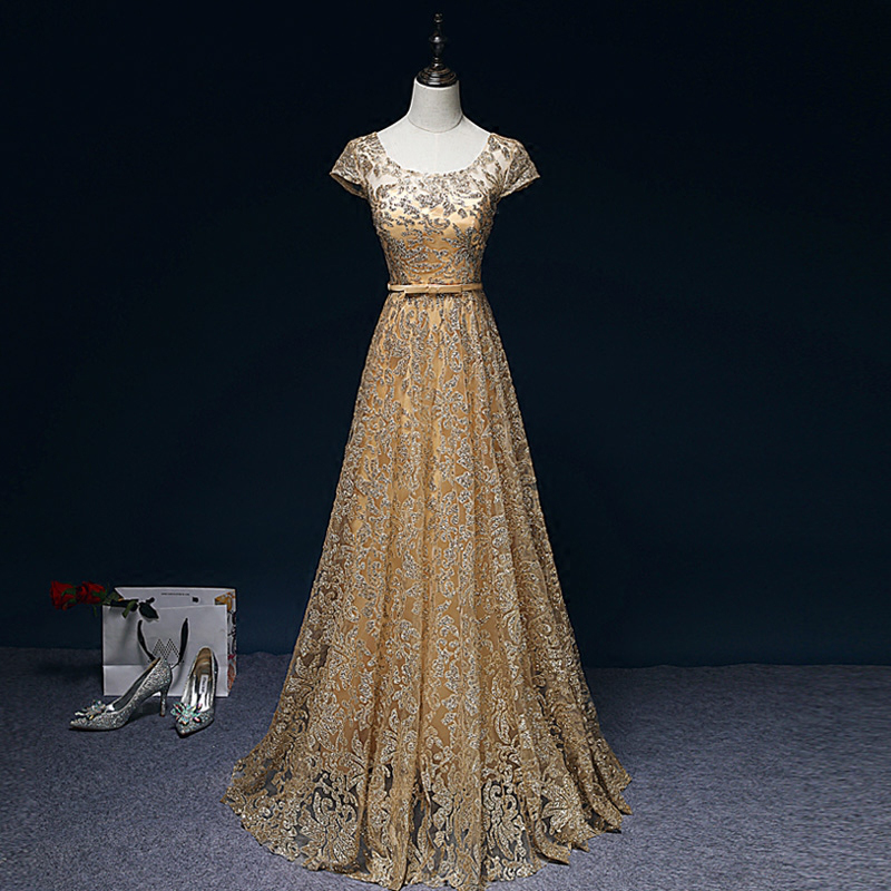 Sexy Long   Evening     Dress   2019 Sheer O-Neck Prom Gown A line Party   Dresses   Golden Color Tulle Sequin Formal   Dress   Robe de soiree