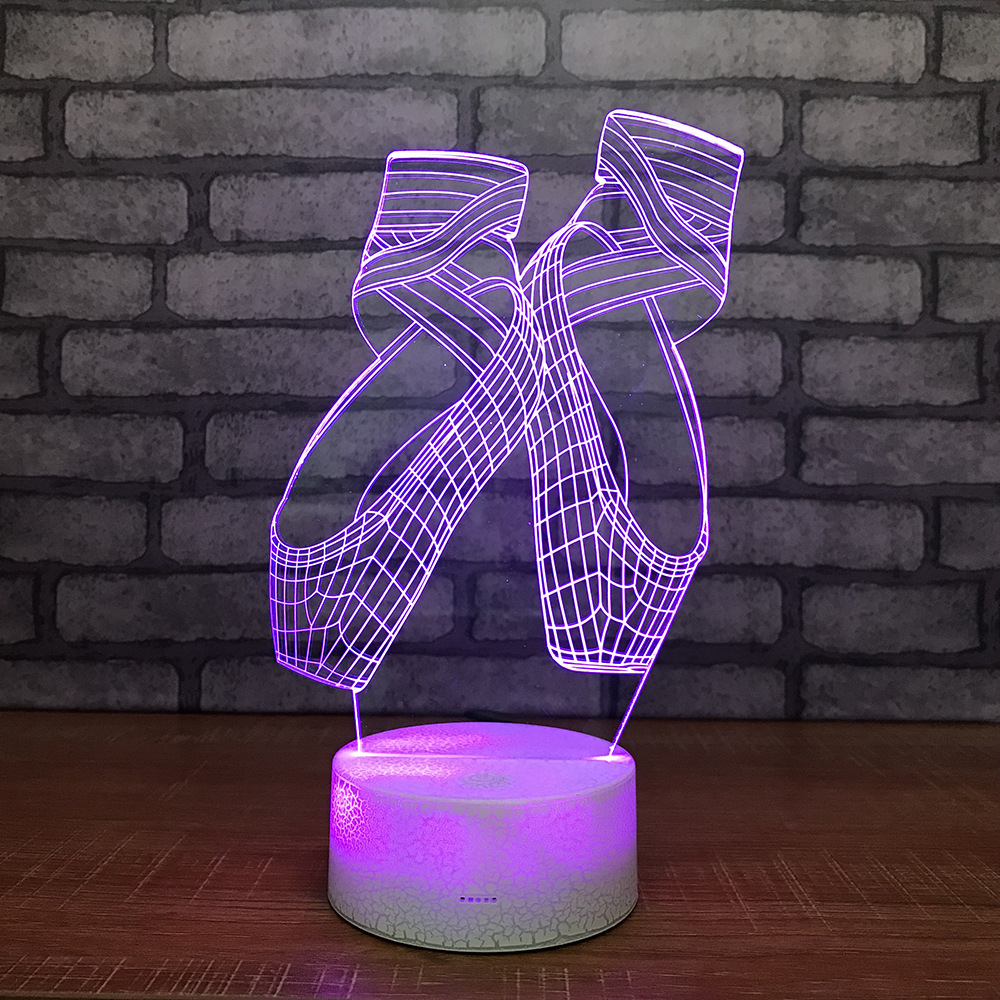 Girl Night Lights Us 13 46 31 Off Creative Ballet Shoes 3d Night Lights Colorful Led Lights Custom Girl Bedside Lamps Luminaria De Mesa Kids Lamp In Led Night Lights