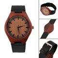 Mostrador do relógio de madeira de madeira Vermelha do vintage relógios de quartzo Das Mulheres Dos Homens Casal Assista New Hot Selling