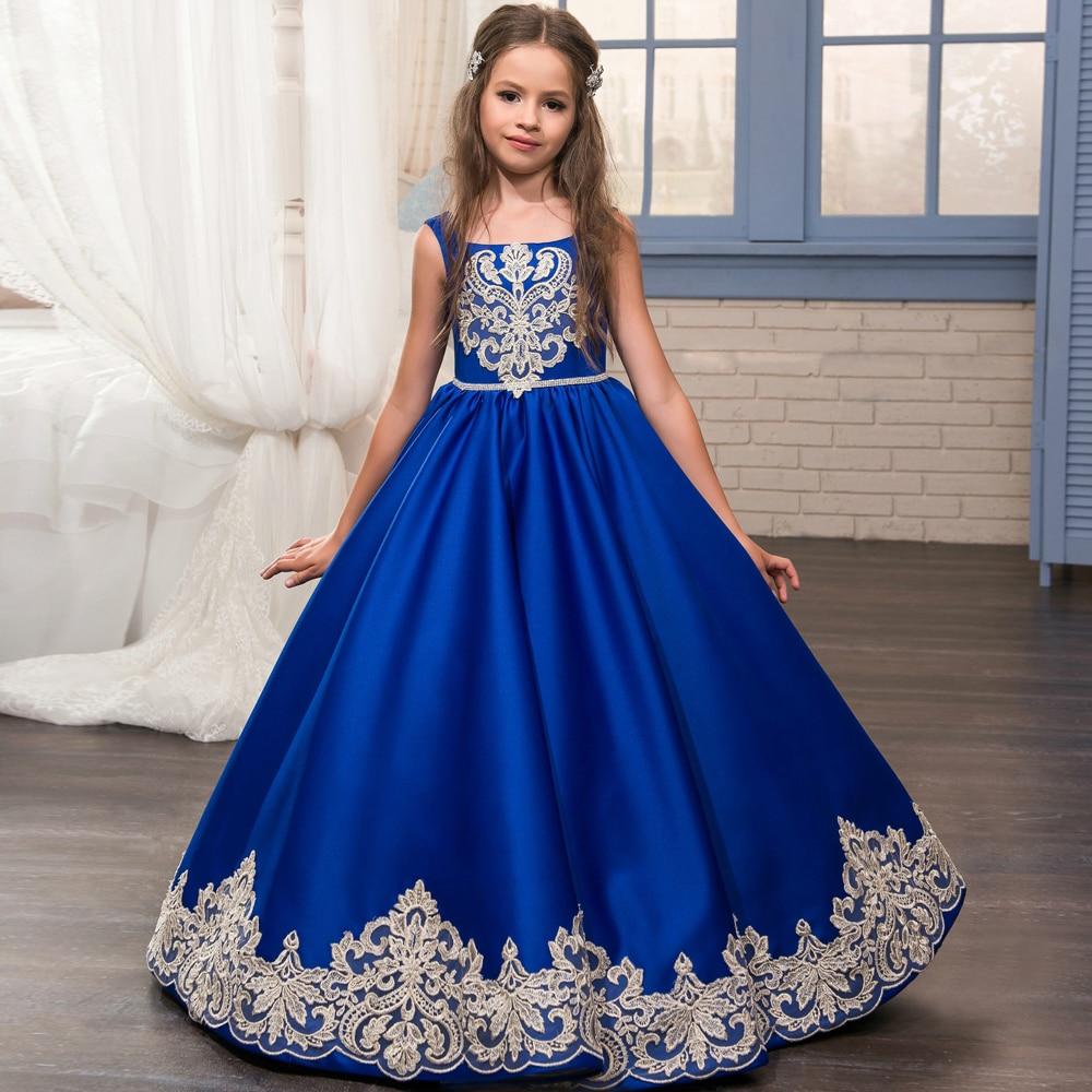 2017 Royal bleu fleur fille robes o-ncek Appliques sans manches robe de bal formelle arc ceintures première Communion robes robes Longo