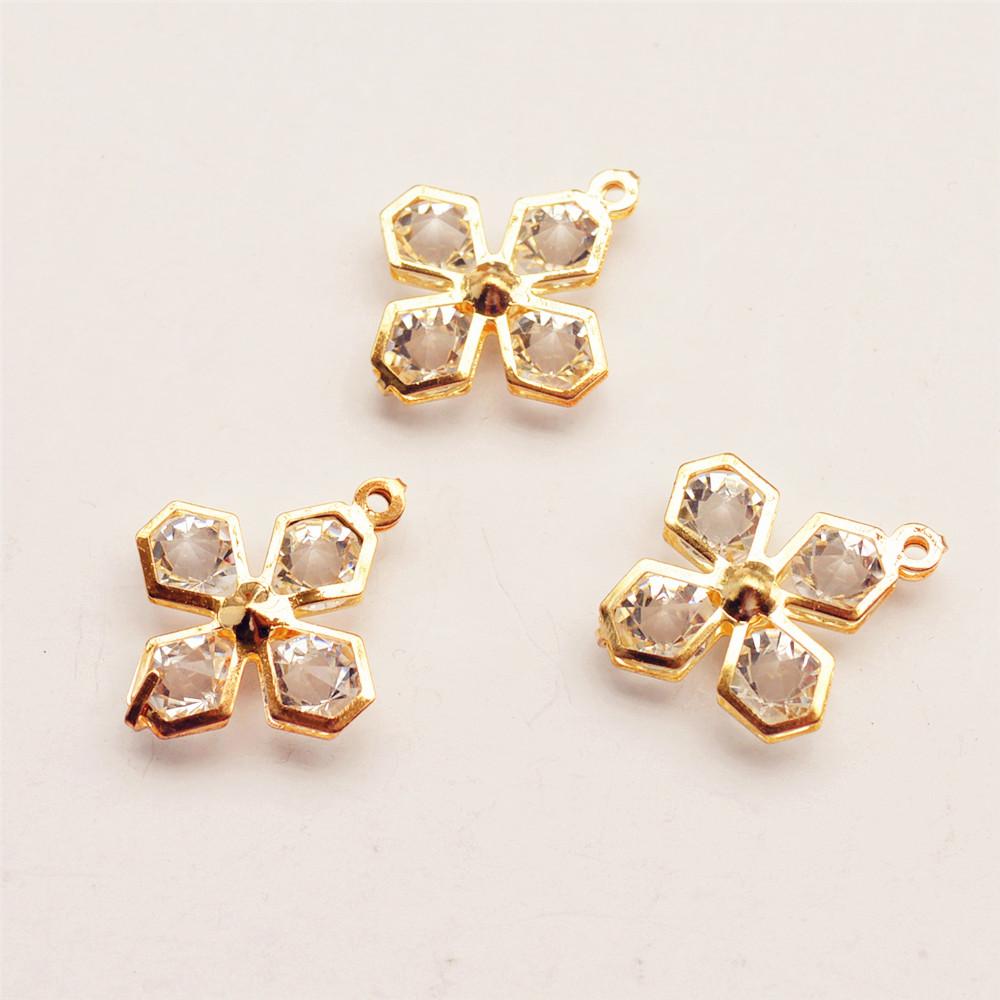 New Rose Gold Alloy Crystal Diamond DIY charms Pendants Findings Wholesales, Hollow Crystal Cross Necklace Pendants