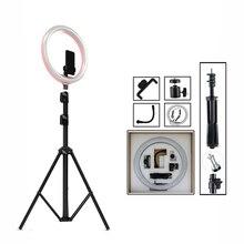 """1"""" Диммируемые лампы светодиодный кольцевой светильник для селфи светильник для фотостудии светильник для фотосъемки с штативом для телефона видео макияж Youtube Live"""