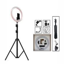 12 «затемнения светодиодный селфи кольцо свет фотостудия фотографии видео в реальном времени Макияж для мобильного телефона с держатель штатива