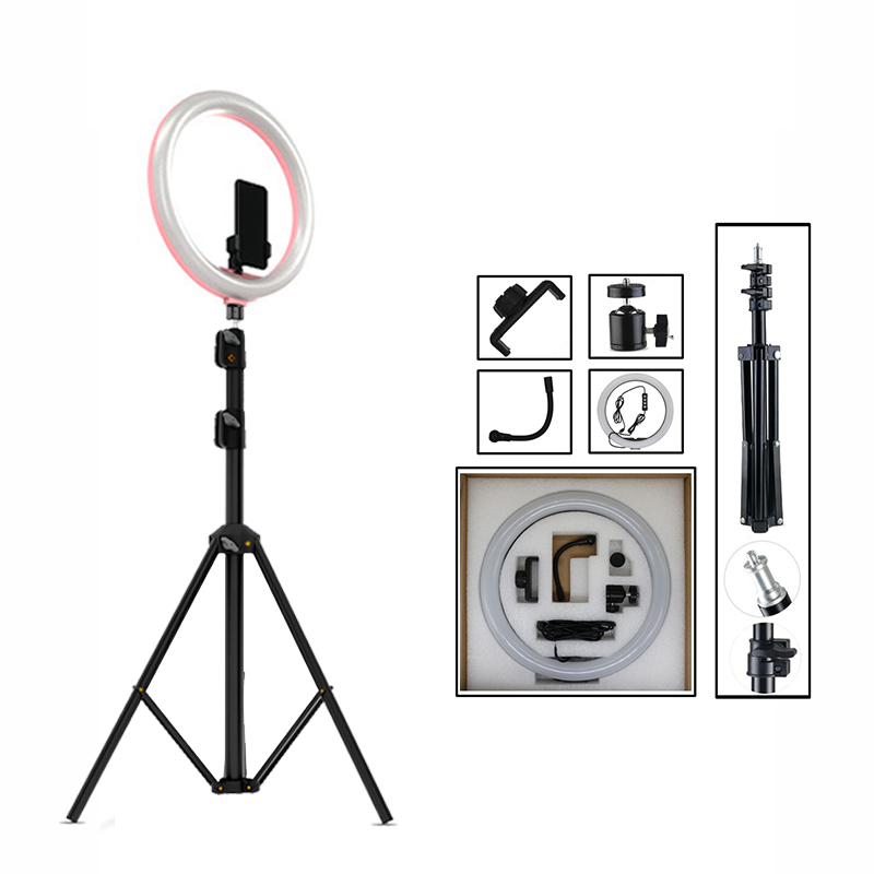 12 Dimmable LED Selfie Ring Light Photo Studio Light Photography Live Video Makeup for mobile phone with Tripod Phone Holder