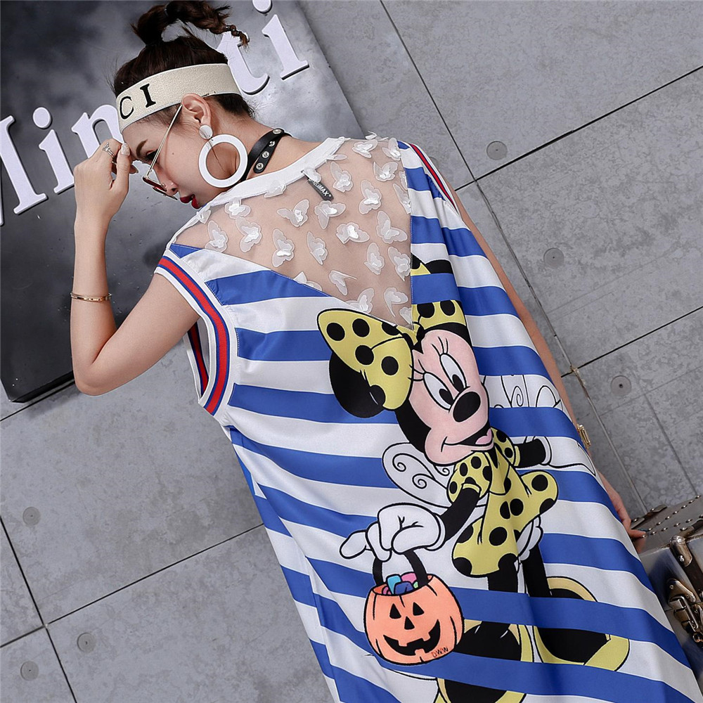Cosplay blue white striped dress women  dress adult fashion sleeveless dress costumes
