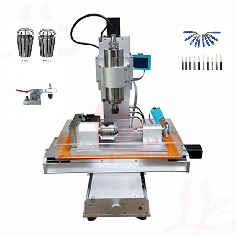 1500W spindle pillar type 4 Axis mini cnc milling machine 3040 PCB drilling metal engraving cutter machine with free cutter 3 axis cnc 4030 engraving machine 1500w water cooled drilling milling lathe with usb interface