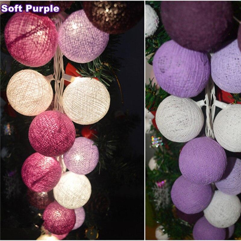 Thai style Cotton Ball String Lights Fairy ,wedding Christmas Patio Decor nursery lamp thailand handwork battery AC plug in