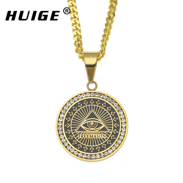 Online shop hip hop mens freemason pendant necklace micro paved hip hop mens freemason pendant necklace micro paved rhinestone illuminati all seeing eye replica coins round charming necklace mozeypictures Gallery