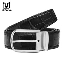 McParko Real Crocodile Belt Genuine Leather Men Luxury Brand Stainless Steel Pin Buckle Waist For Business Gift