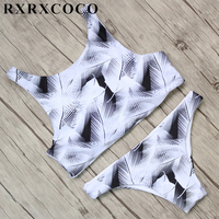 RXRXCOCO Brand Bikini Set High Neck Padded Swimwear Women Sexy Bikini Bandage Swimsuit Female Low Waist