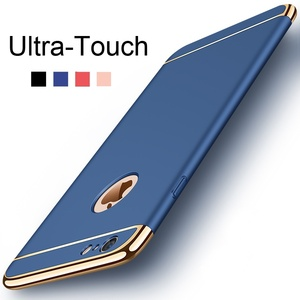 Case for iPhone 6 6s 7 8 Plus X Xs Max XR Luxury 3 In 1 Ultra Slim Hard Cover for iPhone 5 5s SE Coated Non Slip Matte Funda(China)