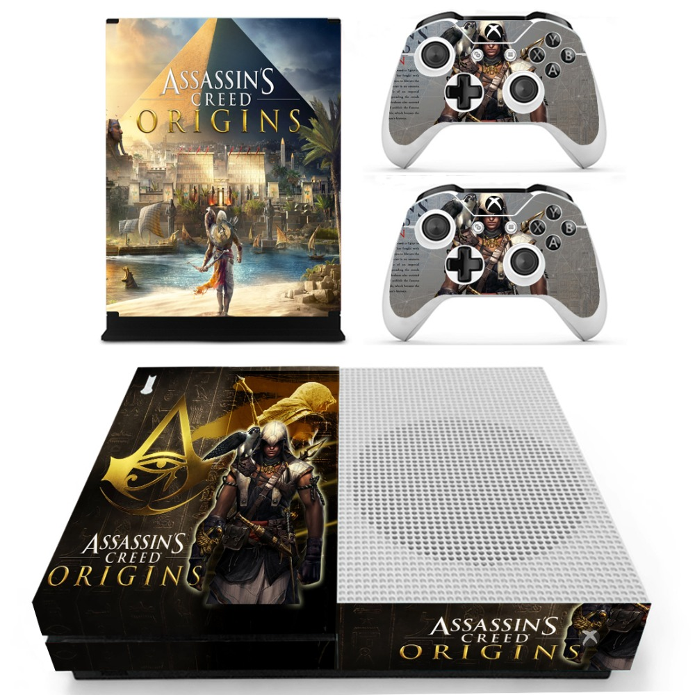 Assassins Creed Origins Vinyl Skin Sticker for the Xbox One S Console With Two Wireless  ...