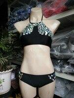 Anibol 2017 Luxury Rhinestone Diamond Bikini Halter Hand Sewing Crystal Women Swimwear Retro Girl Swimsuit Black Bathing Suit