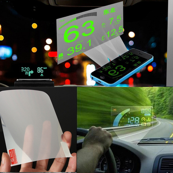 Details about LED Car HUD Head Up Speeding Warning Fuel Display OBD II Window Reflective film image