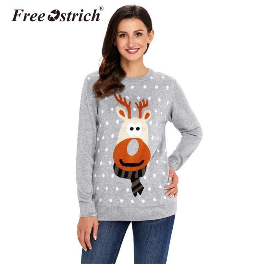 Free Ostrich Christmas Sweater Women Warm Print Knitted Pull Femme Long Sleeve O-Neck Slim Winter Sweater Pullover S40