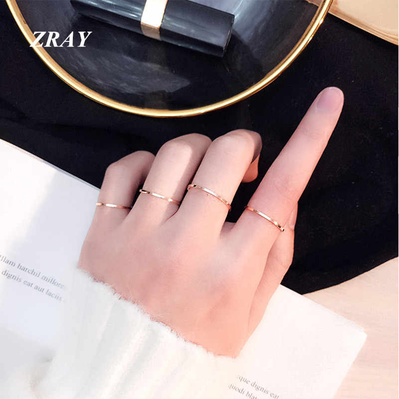 ZRAY (1 MM) Simple Thin Titanium Steel Gold Silver Black Color Anti-allergy Smooth Couple Wedding Ring Women Men Fashion Jewelry