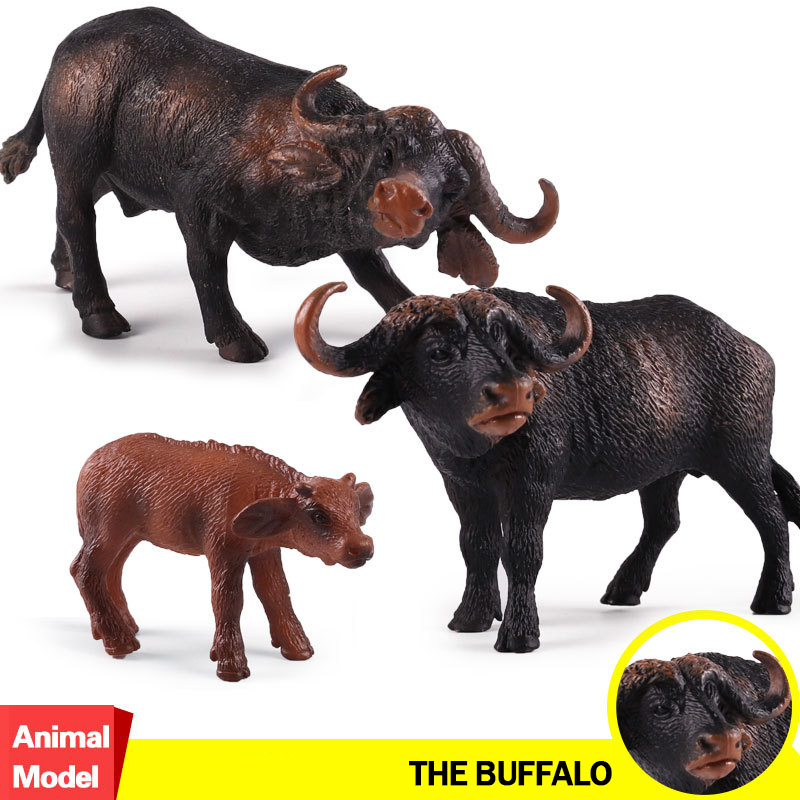 Action&Toy Figure Wildlife Animal The Water Buffalos Baby PVC Model Collectible Doll Figure Collection For Kid Children Gift figma sp 056 the thinker pvc action figure collectible model toy 15cm doll table figure for decoration