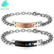 "Boniskiss Self Design Unique Gift For Lover ""His Queen""""Her King "" Couple Bracelets Stainless Steel Bracelets For Women Men"
