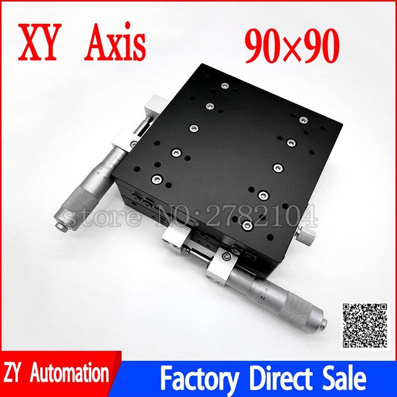 XY Axe 90*90mm Parage Station Manuel Plate-Forme de Déplacement phase linéaire Table Coulissante XY90-LM XY90-C LY90-R Croix Rail