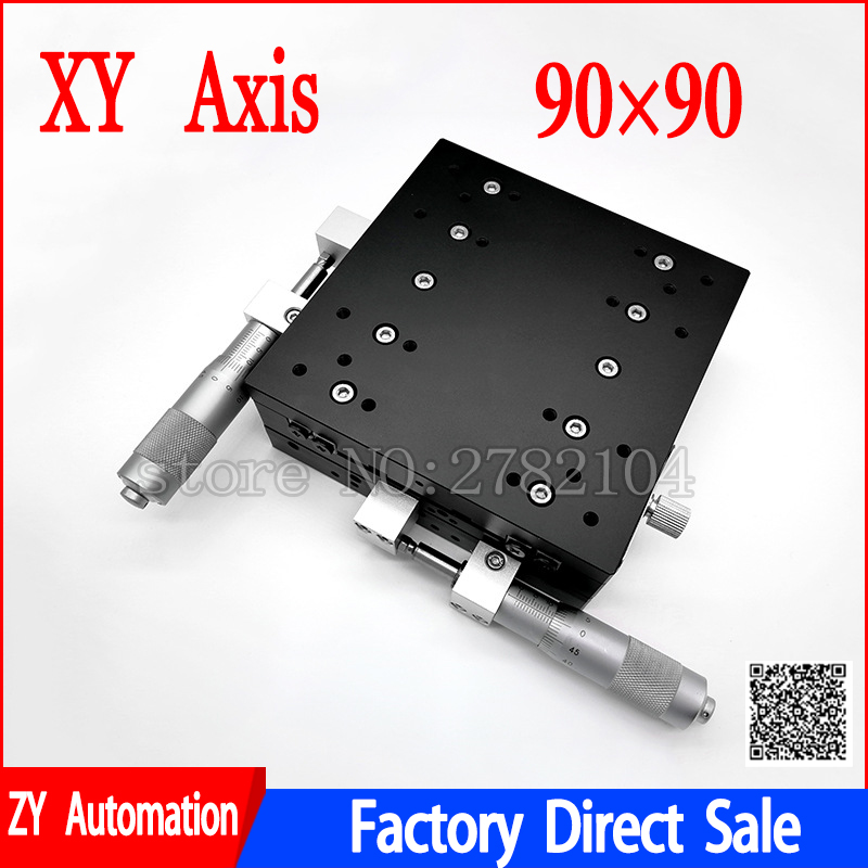 XY Axis 90*90mm Trimming Station Manual Displacement Platform Linear Stage Sliding Table XY90-L XY90-C LY90-R Cross Rail