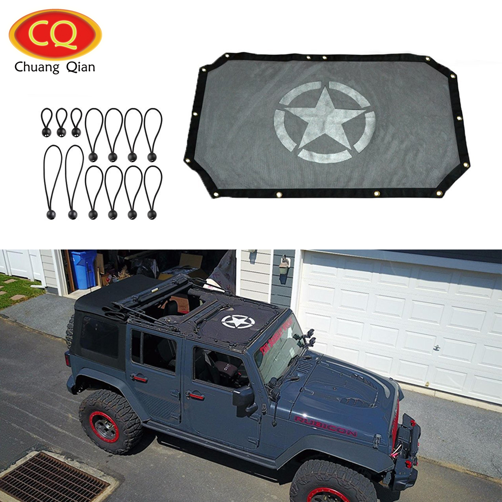 Chuang Qian Star Styling Mesh Sun Shade Top Eclipse Sunshade UV Protection for Jeep Wrangler JK 2007 2018 2 Door|protect sun|protection doors|protective mesh - title=