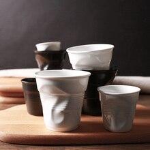 Высокое качество керамика краткое фарфоровые чашки для кофе черный матовый белый европейский стиль завтрак молоко чай чашки оригами Drinkware