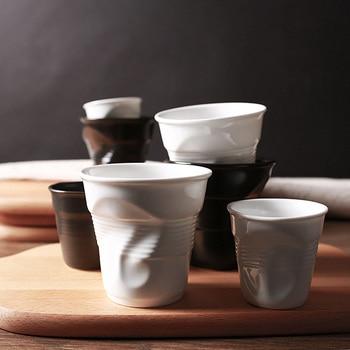 High Quality Ceramic Brief Porcelain Coffee Mugs Black Matt White European Style Breakfast Milk Tea Cup Origami Cups Drinkware