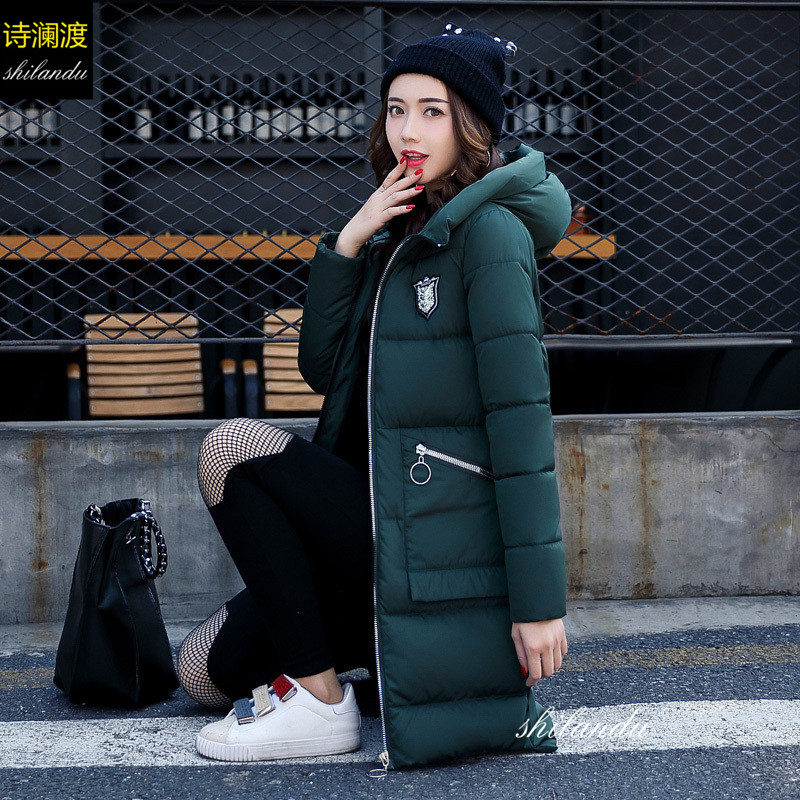 2017 Autumn Winter Jacket Women New Fashion Casual Thick Warm Down Cotton Slim Hooded Parkas Outwear Long Padded Retro Coat 2XL new winter light down cotton coat women long design hooded jackets casual slim warm jacket coats parkas female outwear qh0454