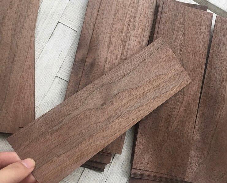 20Pieces/Lot 6.5x17cm Thickness:0.5mm Black Walnut Log Bark Veneer Pure Solid Wood Chips