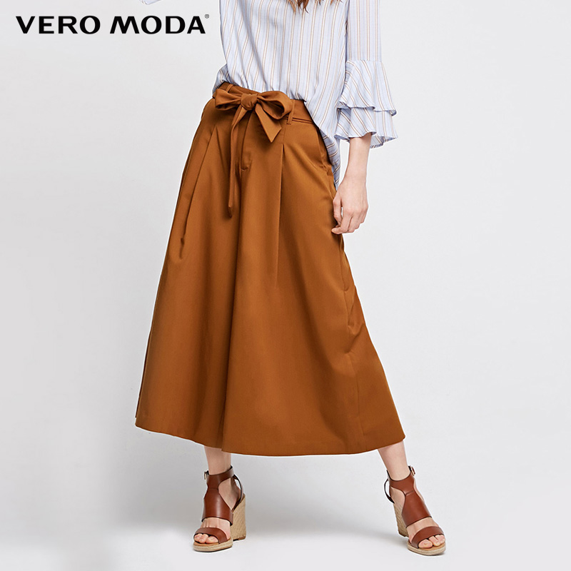 Vero Moda Brand 2018 NEW fashion casual elegant pleated solid color normal waitst loose women   wide     leg     pants  | 31736J537