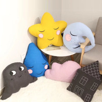 Soft Moon Star Cloud Waterdrop and house Shape Pillow Sofa Cushion Decorative Toys Kids Doll Stuffed Birthday Gift for Girls