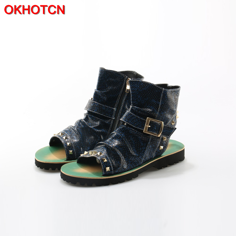 OKHOTCN Fashion Men Sandals Snake Leather shoes Mixed Colors Rivets Studded Summer Ankle men Boots Open Toe Beach Flat Slipper mainboard a000080830 da0blemb6e0 rev e for toshiba satellite l750d l755 l755d laptop motherboard e350 ddr3