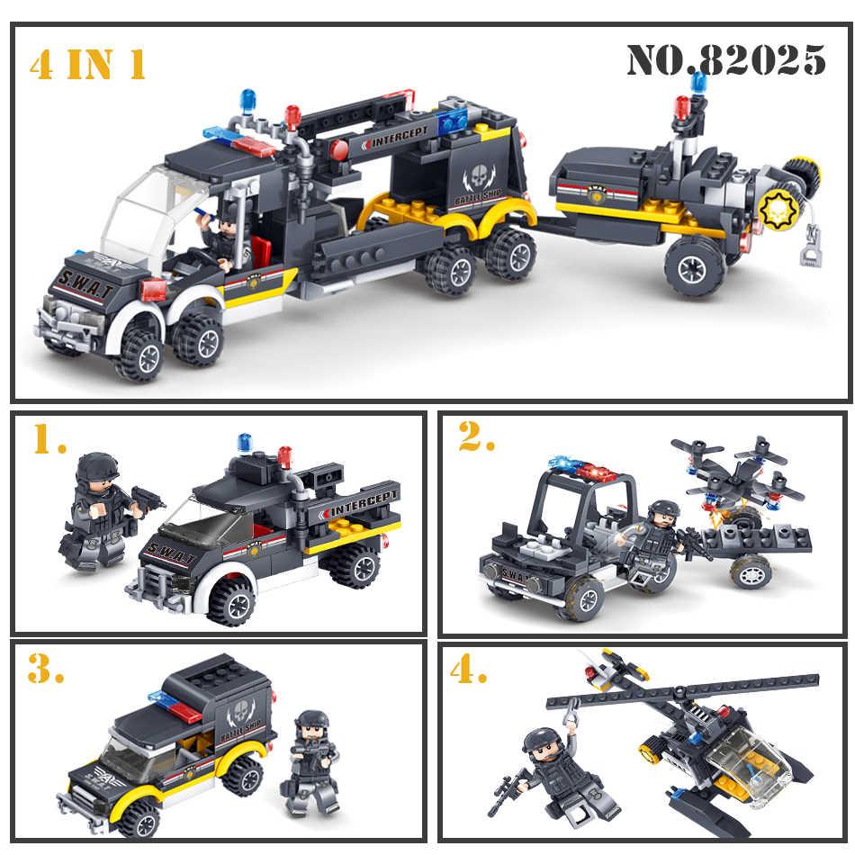 Baru Kazi Tim SWAT Perintah Kendaraan Mobil 3D DIY Model Blok Bangunan Batu Bata Kompatibel Polisi Kota Mainan untuk Anak Anak Laki-laki