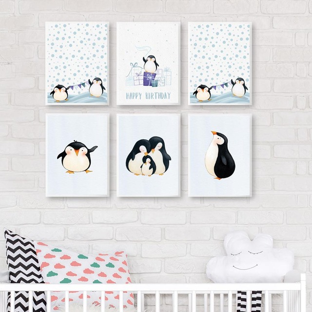 Penguin Poster Cute Cartoon Animals Penguins Canvas Painting