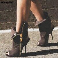 HiHopGirls 2018 Spring Autumn Sexy Women Flock Peep Toe Pumps Fashion Sexy Lapel Stiletto Thin High