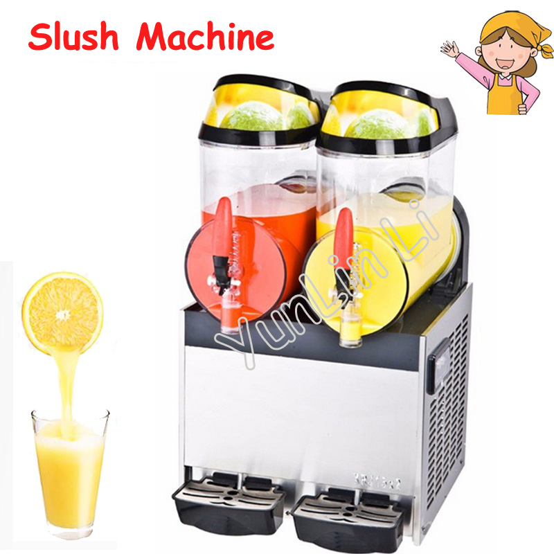 10L Double Tank Beverage Machine Stainless Steel Slush Machine Snow Melting Ice Machine Drinks Dispenser XRJ-10L*2 duoble heads juice dispenser slush machine 15l 2