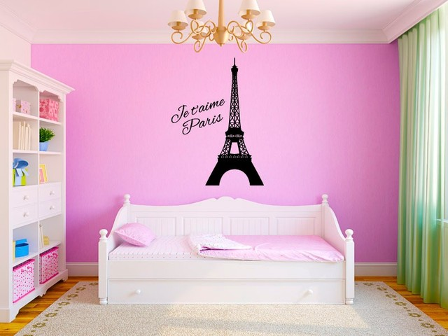Eiffel Tower Paris Je t\'aime Wall Decal Vinyl Sticker Home Bedroom ...