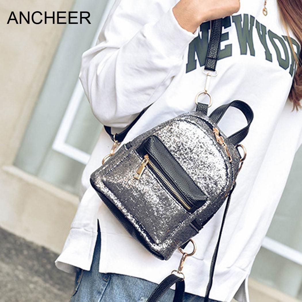 Daypack Style Shiny Glitter Mini Backpack Casual Korean Small Shoulder Bag